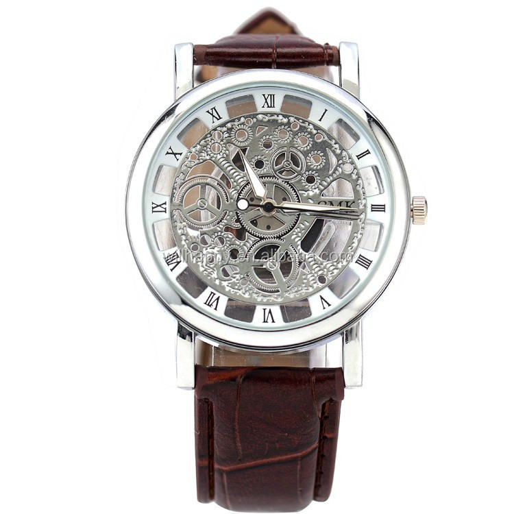 WJ-4136 vogue leather strap skeleton watch