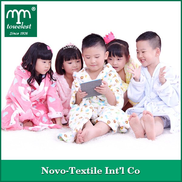 MMY Promotion Printed Flannel Fleece Bath Robe Spa Robes For Kids 300GSM