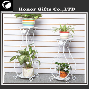European Style 2-Tier Flower Stand Metal Hanging Plant Stand