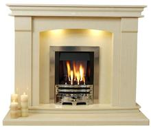 Modern clean lines beige marble fireplace surround