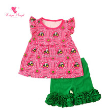 Summer girl embroidery designs sweet top and fancy shoirts Casual kids summer clothing set manufactures baby clothes