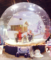 Xmas decoration with antique advertising inflatable christmas human snow globe