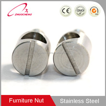 Stainless steel barrel hole nuts with threaded rod for wood furniture