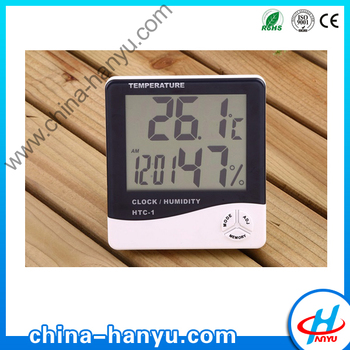 HY-HTC mini wall clock type digital Lcd humidity and temperature indoor outdoor thermometer hyg