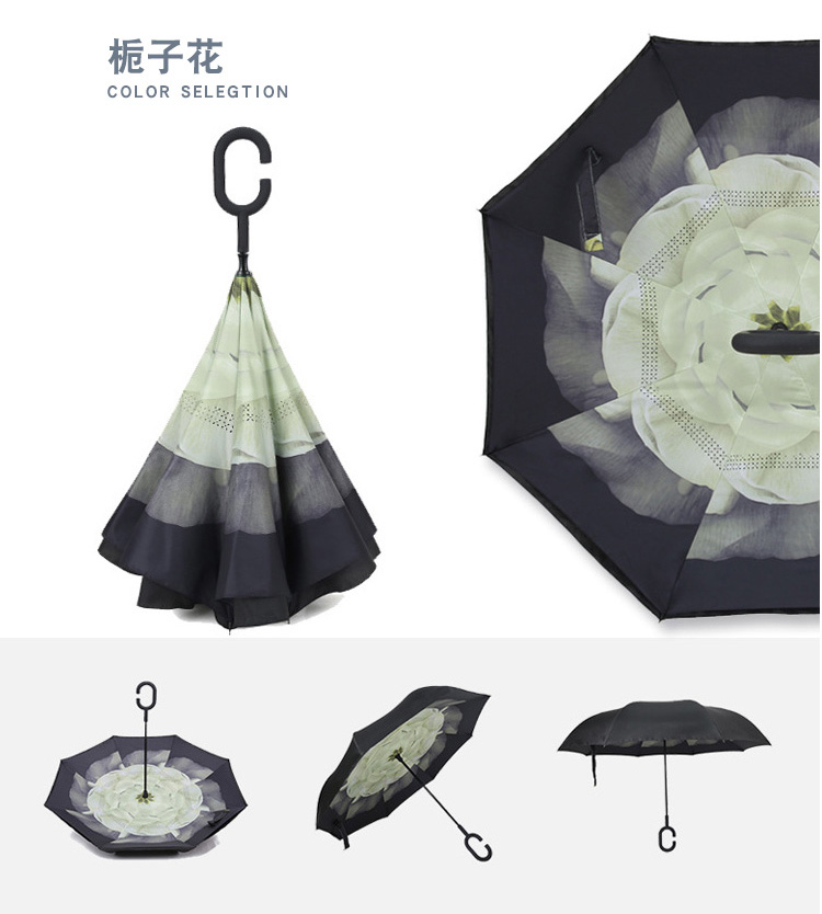 China manufacturer manual open straight colorful umbrella reverse C handle
