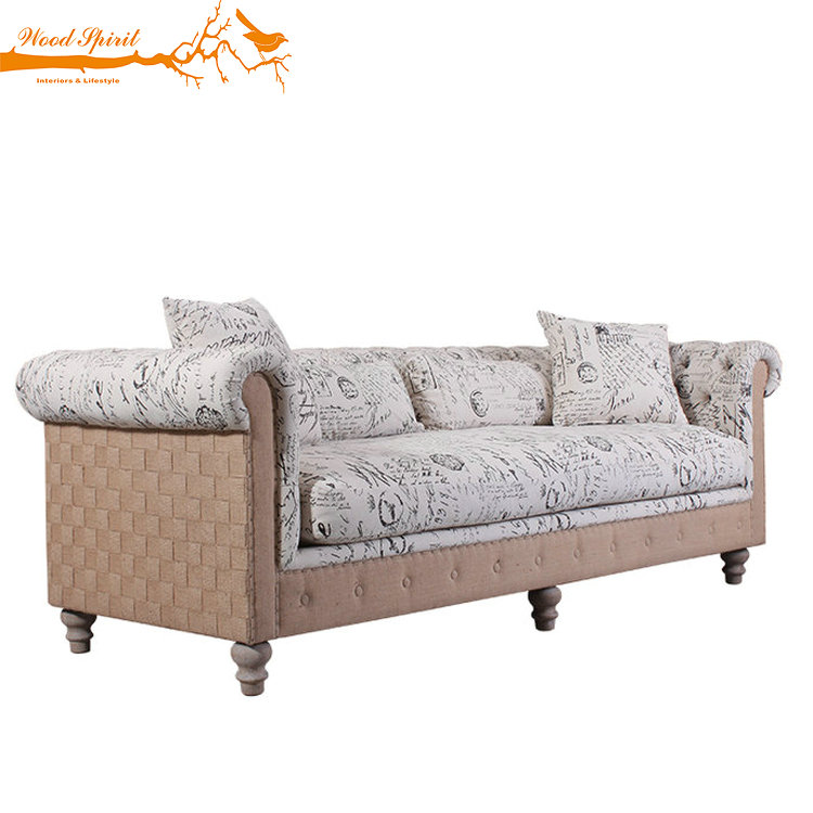 Upholstered Antique Vintage Classical French Provincial Style Furniture Oak Wooden Frame Fabric Chesterfield Living Room Sofa