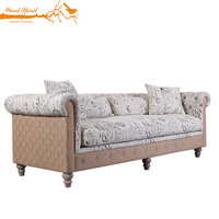 Upholstered Vintage Classical Tufted Button Oak