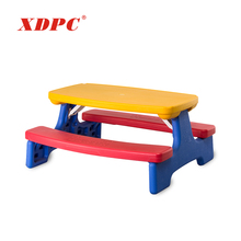 Comfortable kindergarten furniture folding kids study table with attached chair