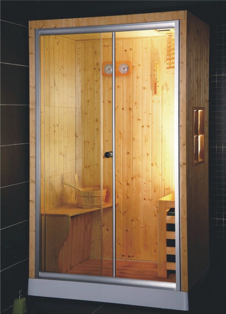 rectangle enclosed wooden sauna steam shower room