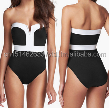 new Black and white <strong>Sexy</strong> hot Add fertilizer Enlarge one piece swimsuit for women factory direct D013