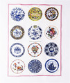 blue and white porcelain plates Silk screen Custom printed kitchen towel