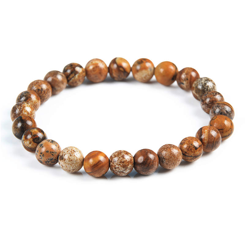 Brown Round 8mm Bracelet Natural Chinese Picture stone gemstone Bracelet Wholesale