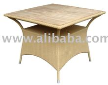 Synthetic Rattan Table Wooden Top