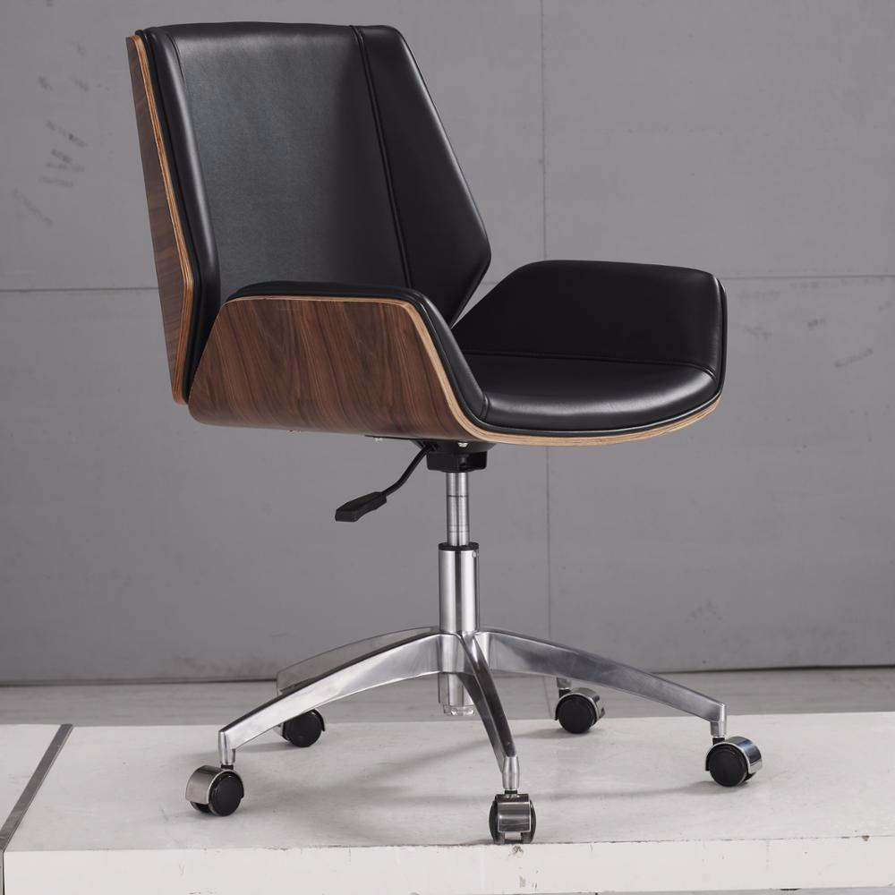 Beno Modern Style Durable Executive Leather Swivel Office Chair Wooden Low  Back Chair With Wheels For Staff - Buy Wood Office Chairs With ...