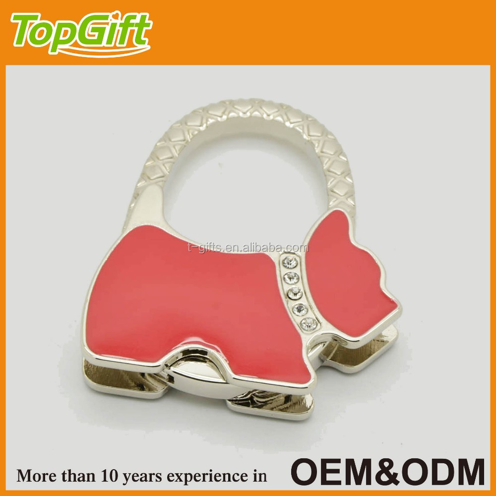 Metal foldable bag hook in dog shaped for hanging lady's hand bag