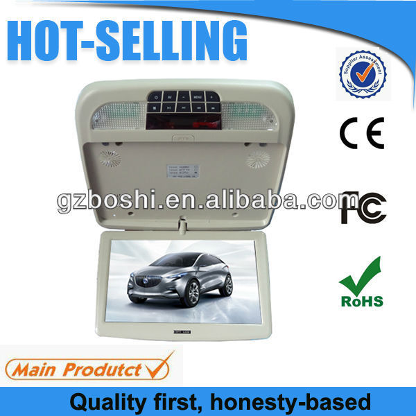 "Super slim 10"" car roof display with dvd player, game function"