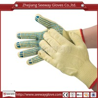 Seeway Aramid Knife Proof Anti-cut Gloves Level 4 with Blue PVC Dots Coated on Palm for More Abrasion Protection