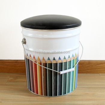 Metal tin bucket seat round metal bucket stool