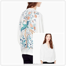 Alibaba China supplier latest style American stylish long sleeve high quality embroidery chiffon lady blouse