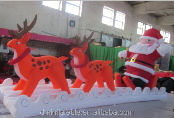 air blown inflatable santa claus with reindeer
