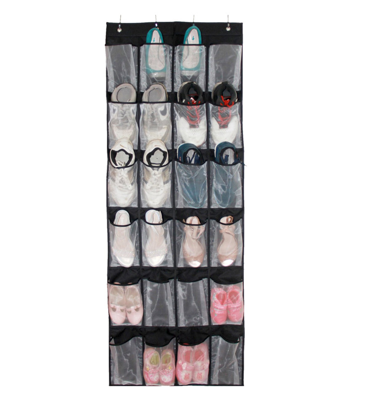 Hanging Over the Door Shoe Organizer with 24 Large Mesh Pockets Black