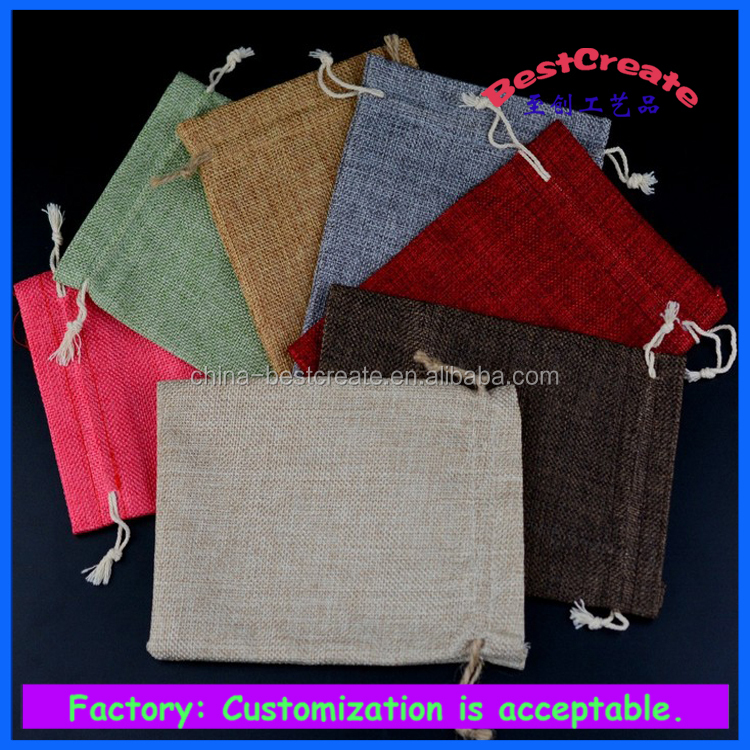 Multi Colors and Sizes Custom Logo Linen Jewelry Promotional Packaging Pouches Drawtsring Faux Jute Gift Bags