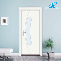 Waterproof interior frosted glass wooden door price for bathroom