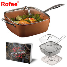 5 piece 9.5inch deep square copper cookware pan chef set frying basket,steamer tray with cookbook