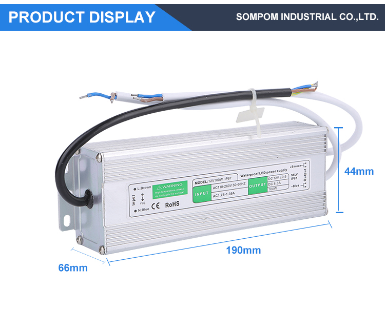 Custom led strip lighting ip67 waterproof led driver 12v 100w 8.5a Switching Power Supply