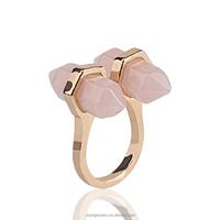RYQ-00005-1 rose quartz gold plated bullet shape trendy natural stone open finger ring korean finger ring