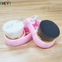 Pink green handle Top selling face cleansing makeup brush handheld gold ferrule with natural synthetic hair brushes