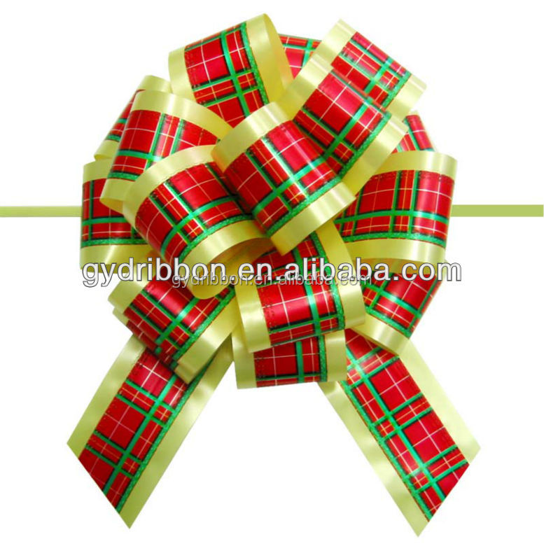 Printed Checked PomPom Ribbon Pull Bow for gift and holiday decoration