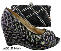Guangzhou wholesale MS3111 black italian/African matching shoe and bag summer ladies high heels 8cm