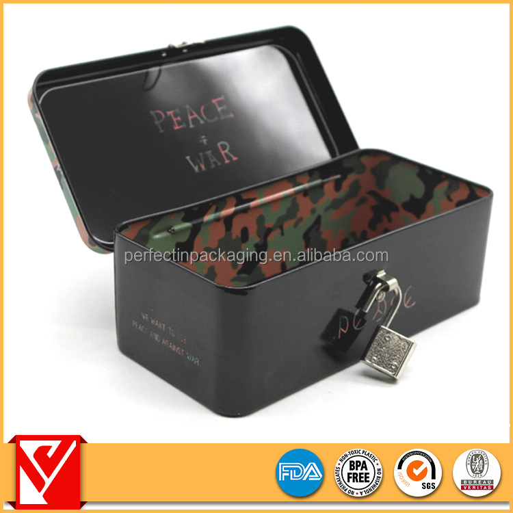 New fancy printing food packaging lunch metal tin box with lock