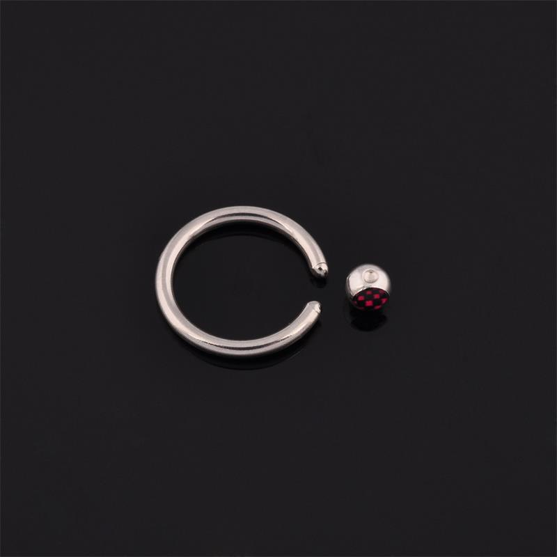 Factory price custom nose ring picture printed logo ball closure ring wholesale