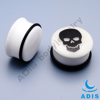 skull printed ear expander acrylic PMMA plugs 10mm