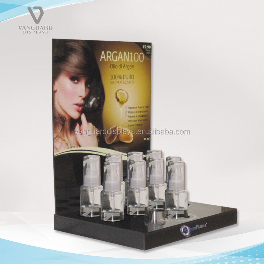 Acrylic Cosmetic Display for Small 9 Bottles, Black Acrylic Counter Display