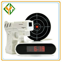 Novelty Gadget Feature Digital Laser Target Clocks Shooting Gun Alarm Clock