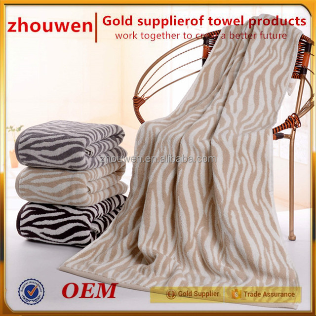 Wholesale Price Turkish Cotton Terry Zebra Stripe Bath Towels Bathrobe