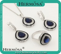 Hermosa 925 Silver Jewelry Latest Design Clear Bule Topaz Bridal Jewelry Sets