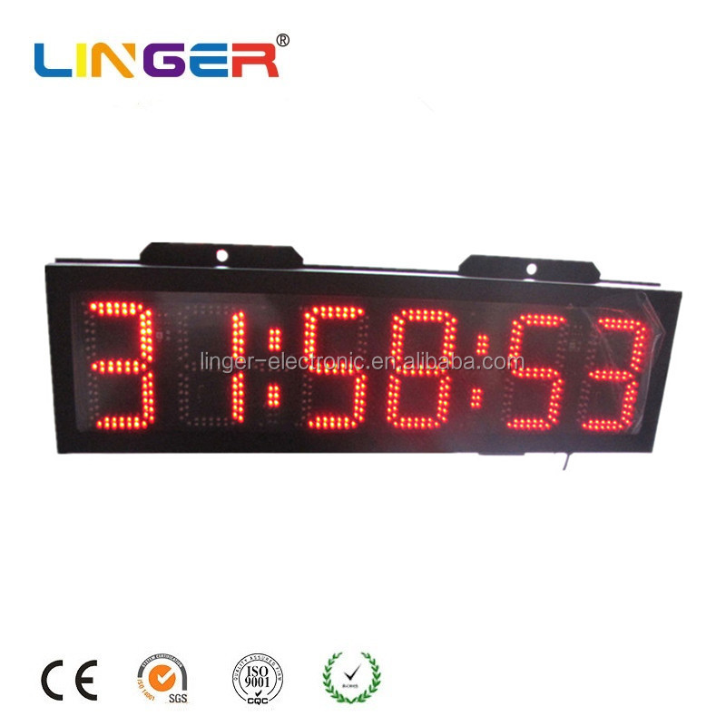 Wall Mounted LED Large Outdoor Digital Clock for Sport Time