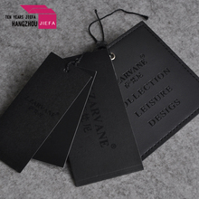 China supply black leather swing tag and black paper jeans hang tags
