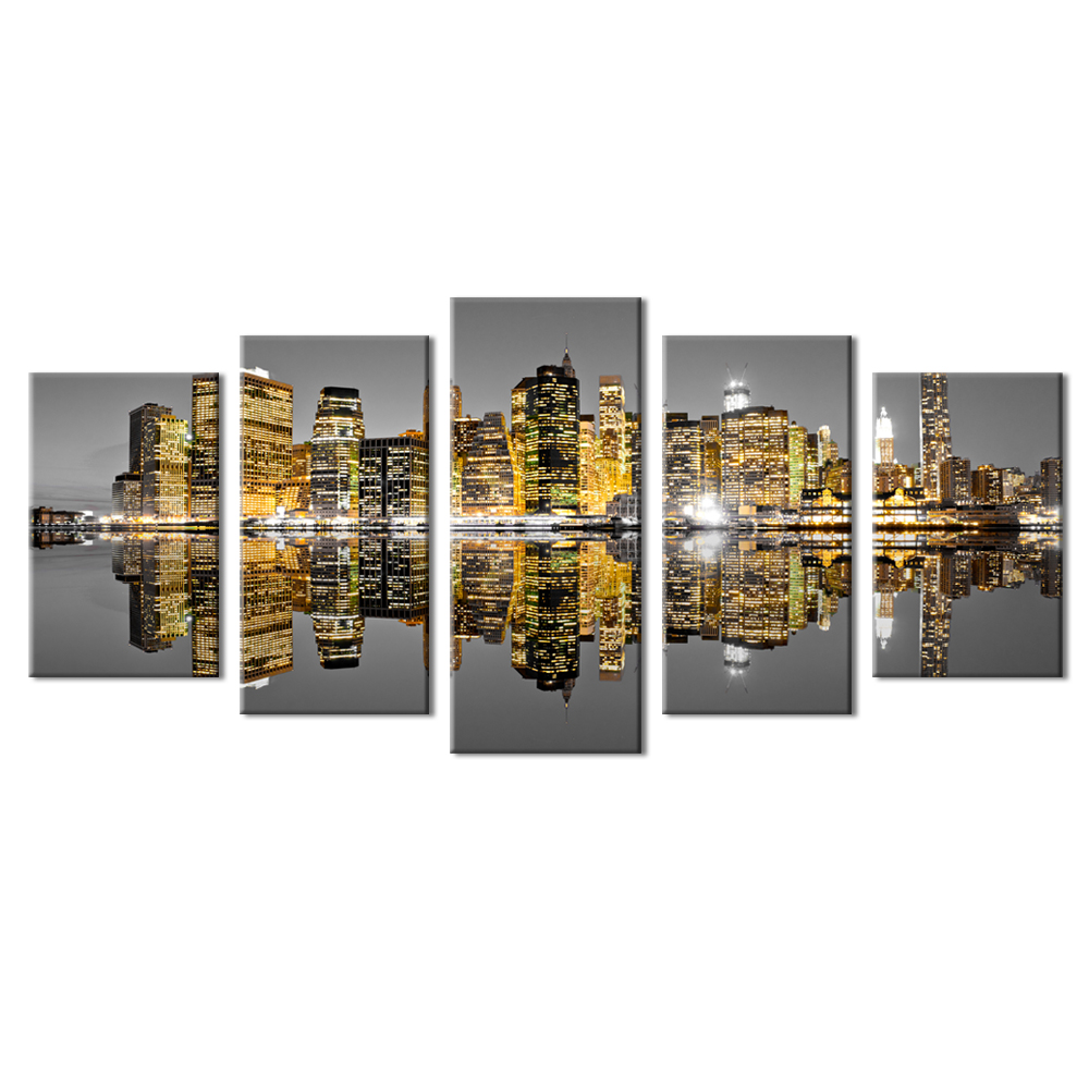5 Pieces New York City Cityscape Giclee Canvas Art Manhattan Night Light Canvas <strong>Picture</strong> Stretched on Wooden Frame