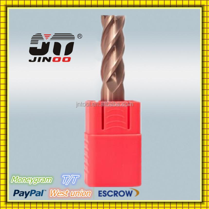 JINOO high quality tools micro grain solid carbide tapered ball nose end mill cutter