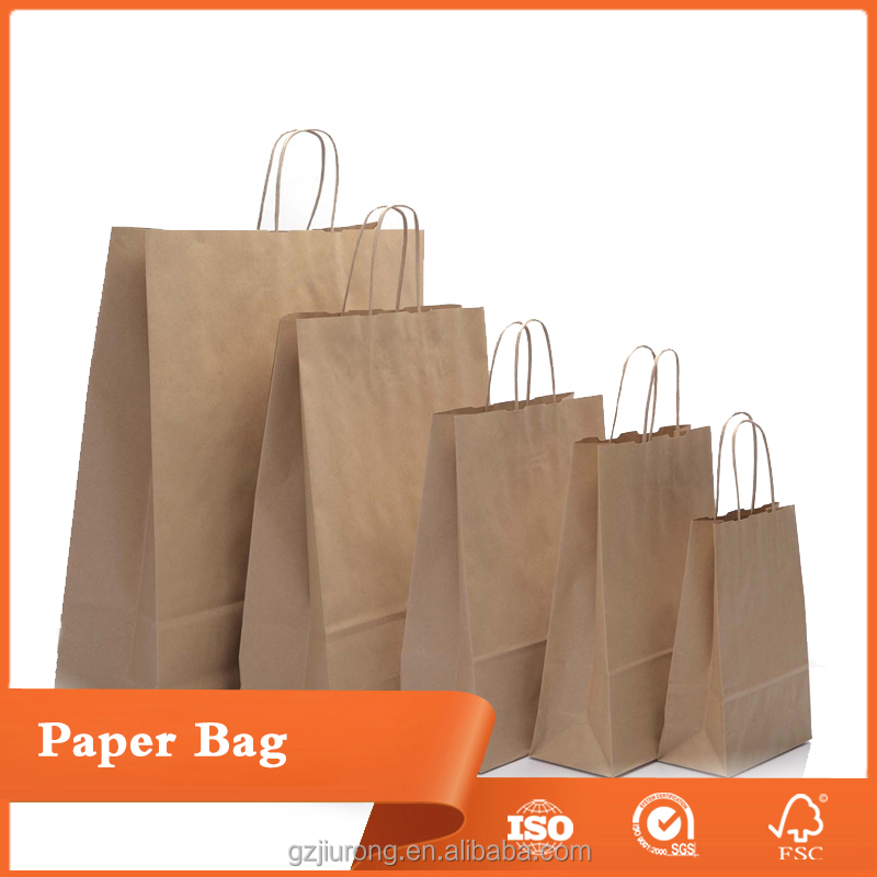 Kraft Brown Paper Handle Shopping Gift paper bags with handles