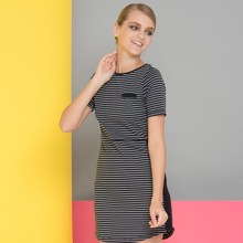 2017 Summer New Women's Celeb Style Fashion Chiffon irregular stripe short dress plus size