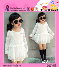 White Lace Kids Cotton Frocks Design Round Neck Long Sleeves Kids Cotton Frocks Design