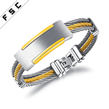 High Quality Custom Gold Plated Popular Logo Men Bangles Ladies Stainless Steel Jewellery