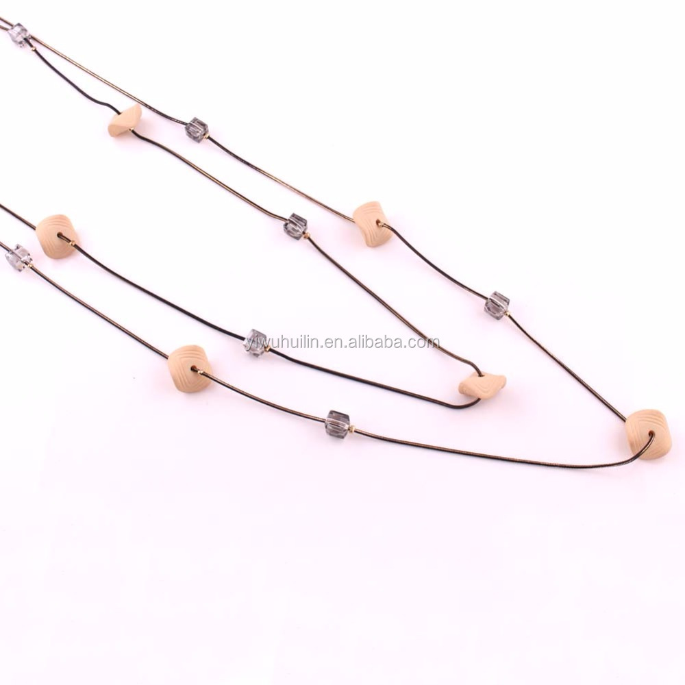 IMG 3752 Yiwu Huilin Jewelry latest long chain with square beads mother's day necklace