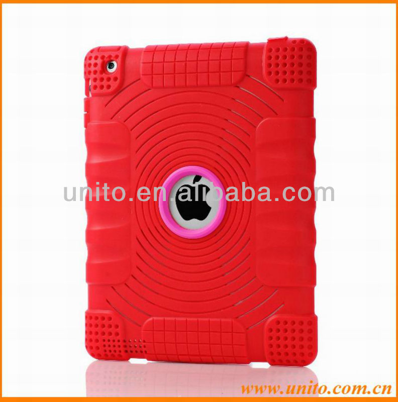 Comprehensive Protection Concentric Circles Pattern Silicon Case for iPad 3 2 With Dust plug
